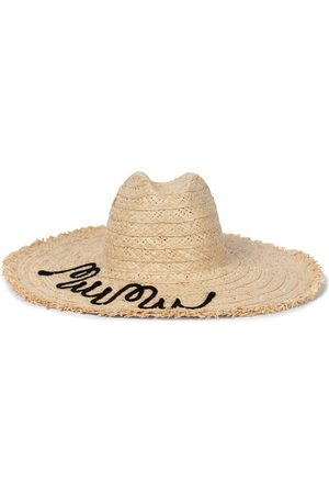 Miu Miu Embroidered raffia hat