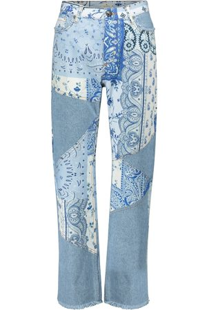 Etro High-rise patchwork straight jeans