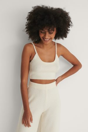 NA-KD Knitted Cropped Top - White