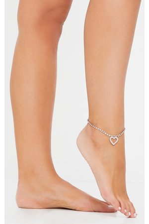 PRETTYLITTLETHING Silver Diamante Heart Anklet