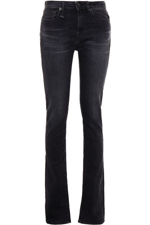 R13 Women Slim - Woman Alison Mid-rise Slim-leg Jeans Charcoal Size 24
