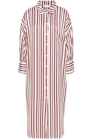 ANINE BING Women Casual Dresses - Woman Striped Silk-satin Midi Dress Ivory Size L