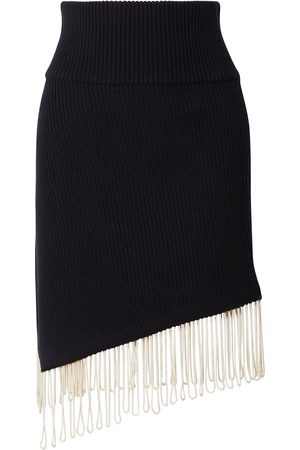 CALVIN KLEIN 205W39NYC Women Skirts - Woman Asymmetric Fringe-trimmed Ribbed Wool-blend Skirt Midnight Size L