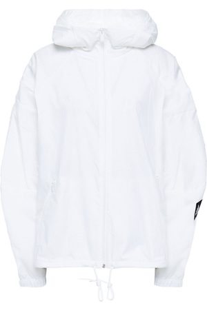 ADIDAS Woman Mesh-trimmed Crinkled-shell Hooded Jacket Size L