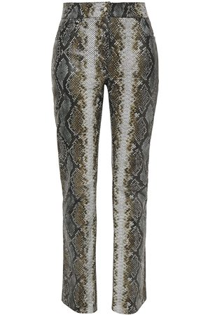 STAND STUDIO Women Leather Trousers - Woman Rina Coated Snake-effect Leather Slim-leg Pants Animal Print Size 36