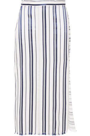 ALTUZARRA Women Midi Skirts - Woman Satin-trimmed Striped Twill Midi Skirt Off- Size 36