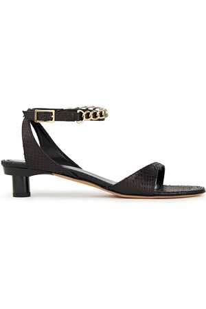 tibi Women Sandals - Woman Chain-trimmed Snake-effect Leather Sandals Size 40.5