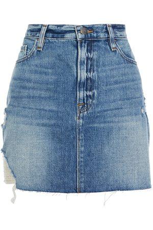 FRAME Woman Distressed Faded Denim Mini Skirt Mid Denim Size 24