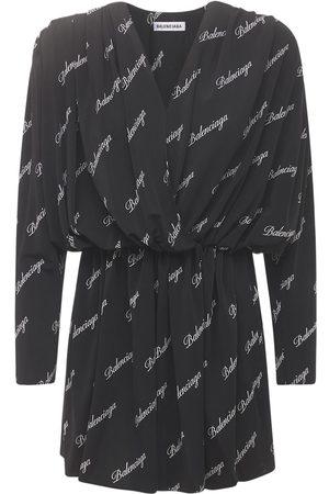 Balenciaga Logo Script Jersey Wrap Mini Dress