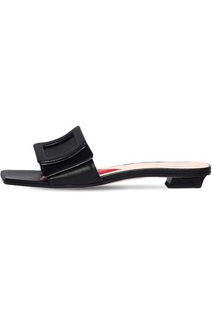 Roger Vivier 15mm Covered Buckle Leather Mules