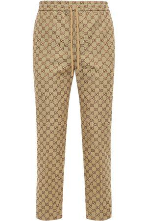 Gucci Gg Cotton Blend Canvas Jogging Pants