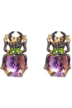 Annoushka 18kt yellow gold Mythology amethyst Beetle stud earrings