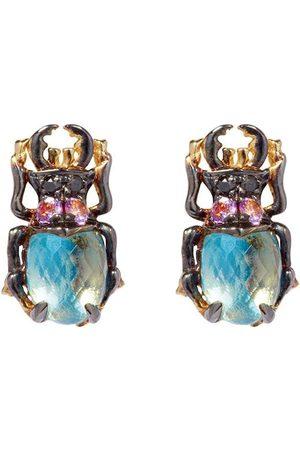 ANNOUSHKA 18kt yellow gold Mythology diamond topaz Beetle stud earrings