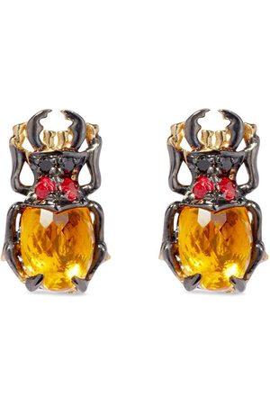 ANNOUSHKA 18kt yellow Mythology citrine topaz Beetle stud earrings
