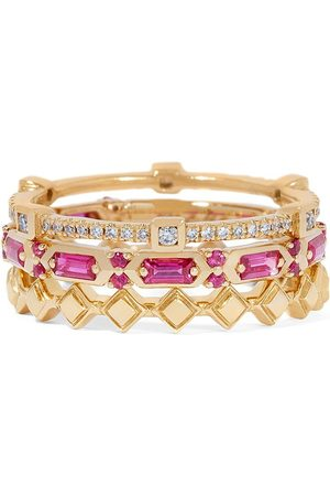 Annoushka 18kt yellow gold diamond sapphire baguette stack ring