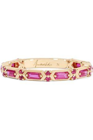 Annoushka 18kt yellow gold sapphire baguette band ring