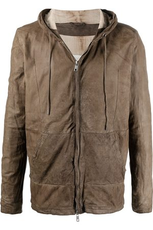 GIORGIO BRATO Zip-up hooded leather jacket