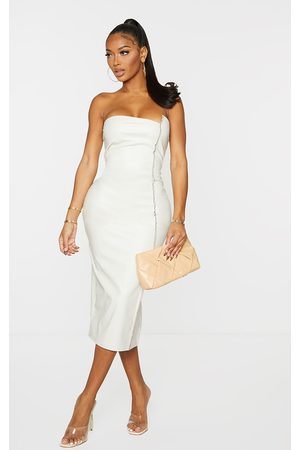 PRETTYLITTLETHING Women Midi Dresses - Shape Cream PU Overlock Detail Bandeau Midi Dress
