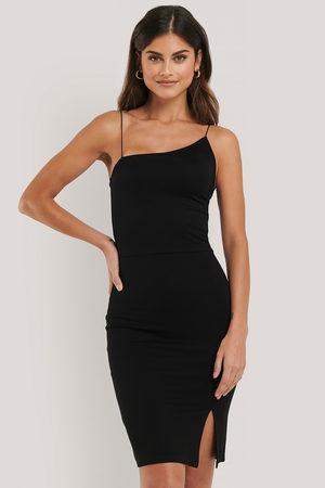 NA-KD Asymmetric Thin Strap Short Dress - Black