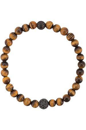 Nialaya Jewelry Men Bracelets - CZ tiger eye beaded bracelet