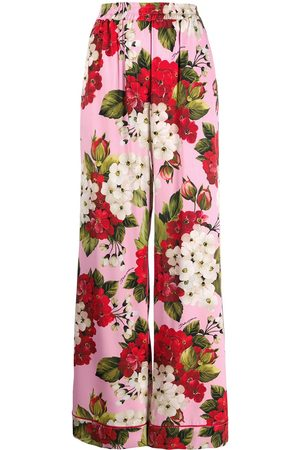 Dolce & Gabbana Women Trousers - Floral print high waisted trousers