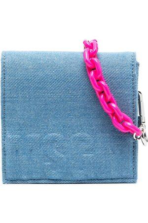 Msgm Embossed-logo denim shoulder bag