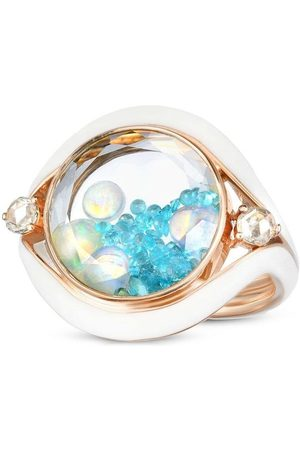 Moritz Glik 18kr rose gold, tourmaline, opal and diamond Evil Eye shaker ring