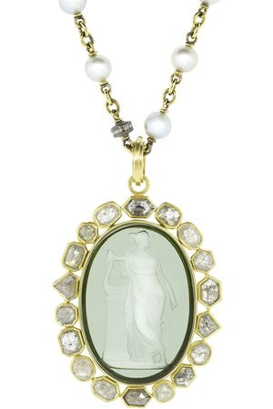 Sylva & Cie 18kt yellow diamond Venetian Glass Cameo Pendant