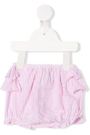 SIOLA Striped ruffled bloomer shorts