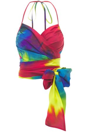 ALEXANDRE VAUTHIER Tie Dye Silk Charmeuse Wrap Top