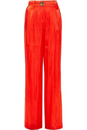 REJINA PYO Women Wide Leg Trousers - Woman Linen Wide-leg Pants Tomato Size 10