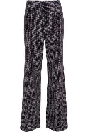 ALICE+OLIVIA Women Wide Leg Trousers - Woman Dylan Polka-dot Crepe Flared Pants Size 0