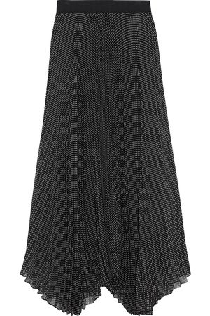ALICE + OLIVIA Women Maxi Skirts - Woman Katz Asymmetric Pleated Polka-dot Georgette Maxi Skirt Size 0