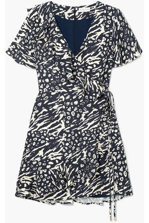 Rebecca Vallance Women Printed Dresses - Woman Flores Wrap-effect Ruffled Printed Crepe Mini Dress Navy Size 10