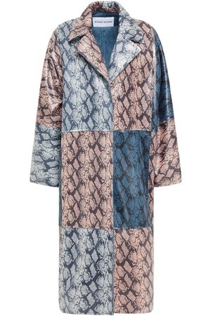Stand Studio Woman Stacy Oversized Faux Snake-effect Leather Coat Animal Print Size 32