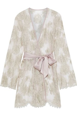 MYLA Woman Dove Mews Satin-trimmed Leavers Lace Robe Blush Size M/L