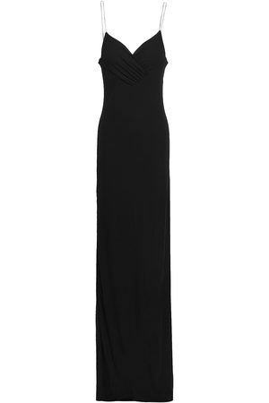 Balmain Woman Crystal-embellished Ruched Crepe Gown Size 36