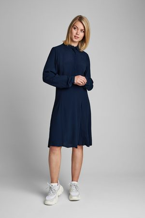 Numph Navy Fitted A-line Dress