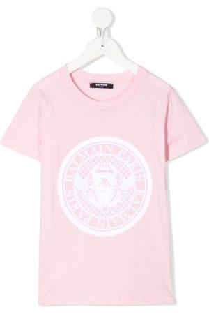 Balmain Boys Short Sleeve - TEEN logo print T-shirt
