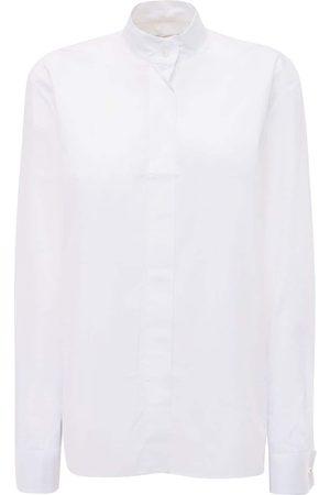 ALEXANDRE VAUTHIER Cotton Poplin Shirt W/crystal Buttons