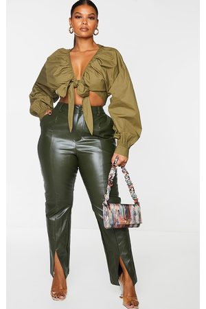 PRETTYLITTLETHING Plus Khaki Tie Front Ruched Blouse