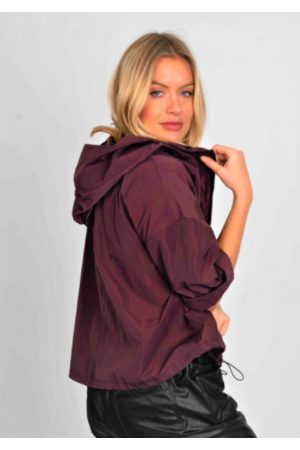 Suzy D Hood & Zip Rain Jacket - Bordeaux