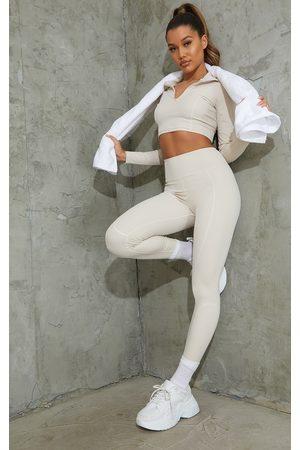 PRETTYLITTLETHING Women Leggings - Oatmeal Sculpt Luxe Detailed Leggings