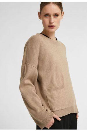 SELECTED Cille ls knit pocket o-neck mink melange