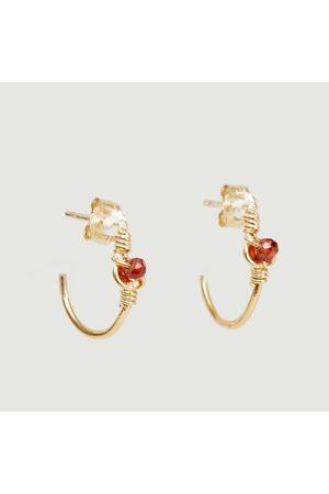 Monsieur Tia yellow vermeil and pearl hoop earrings Vermeil perles