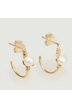 Monsieur Women Earrings - Tia hoop earrings Vermeil perles