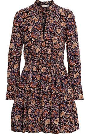 ULLA JOHNSON Woman Liv Gathered Printed Cotton-blend Mini Dress Navy Size 0