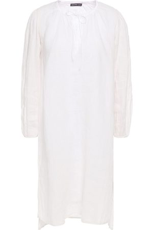 James Perse Woman Satin-trimmed Linen Dress Ivory Size 0