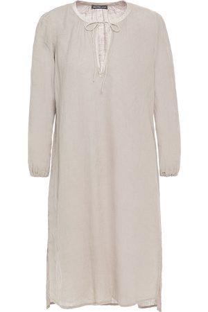 James Perse Woman Satin-trimmed Linen Dress Stone Size 0