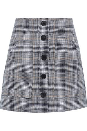 VERONICA BEARD Woman Fisher Prince Of Wales Checked Linen And Cotton-blend Mini Skirt Navy Size 0